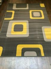 Rugs/Mats Approx 6x4ft 120x70cm Woven Backed Squares Quality Rugs Greys-Mustard